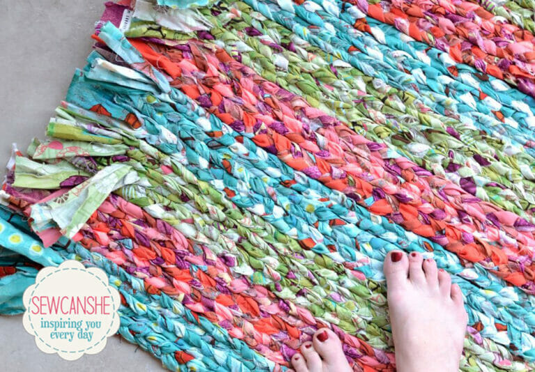 How to Sew a DIY braided rag rug… total stash buster!