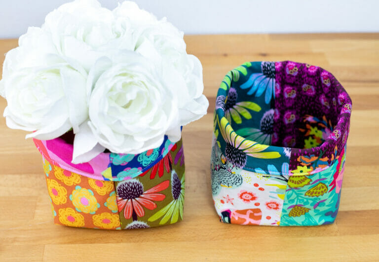 How to Sew Easy Baskets with 10″ Squares – Layer Cake Leftover Project!