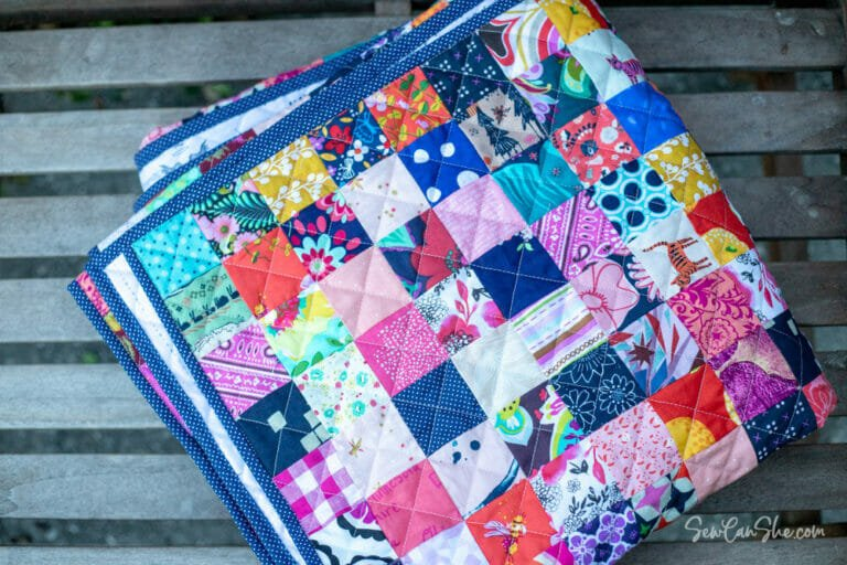 """How to Sew a Patchwork Quilt using 2 1/2"""" Fabric Squares – Postage Stamp Quilt!"""