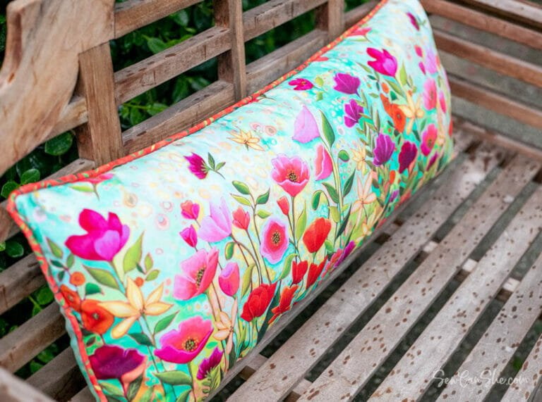 How to Sew a Bench Pillow – free bench cushion sewing tutorial! {with piping}