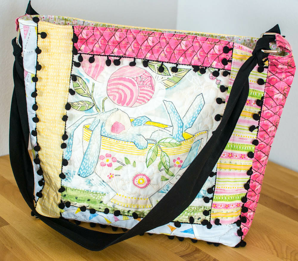 Quilt As You Go (QAYG) Tote with Pom Poms - easy sewing tutorial