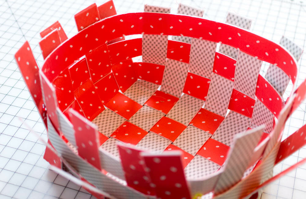 basket with two different fabrics