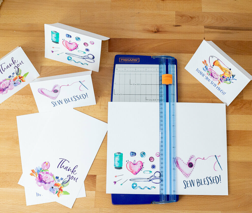 How to cut the printable sewing note cards