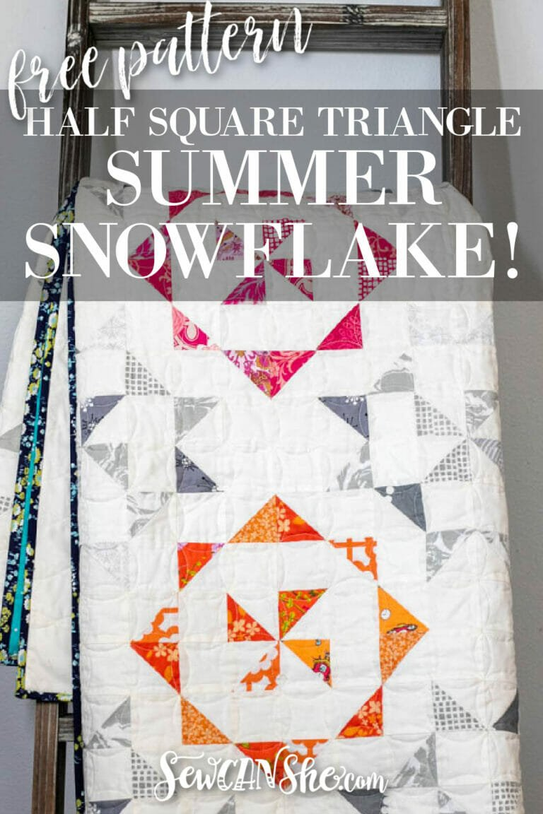 Summer Snowflake – Free HST Quilt Pattern with Easy Layout Mat