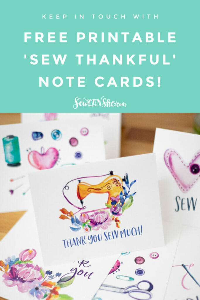 Sew Thankful free Sewing Note Cards