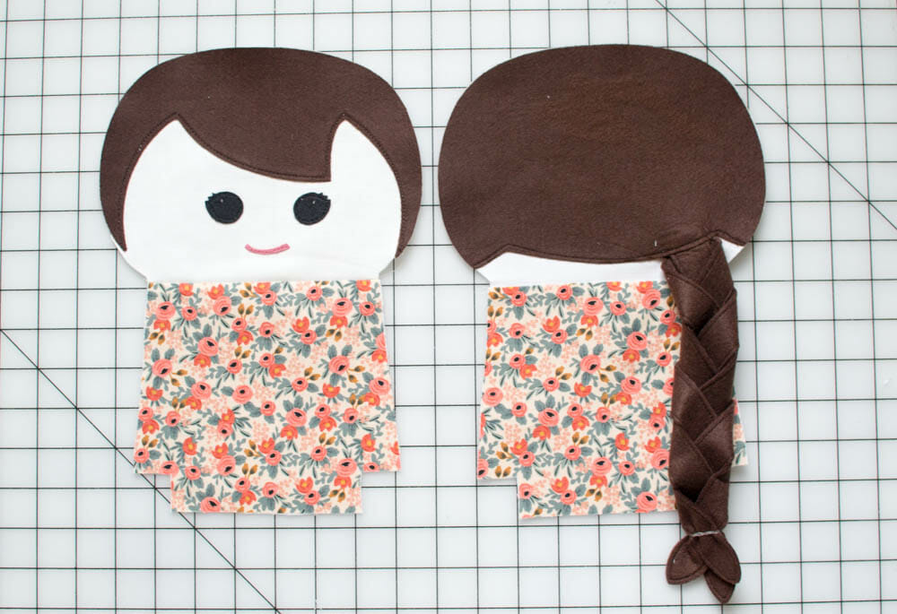 fabric doll pattern front and back