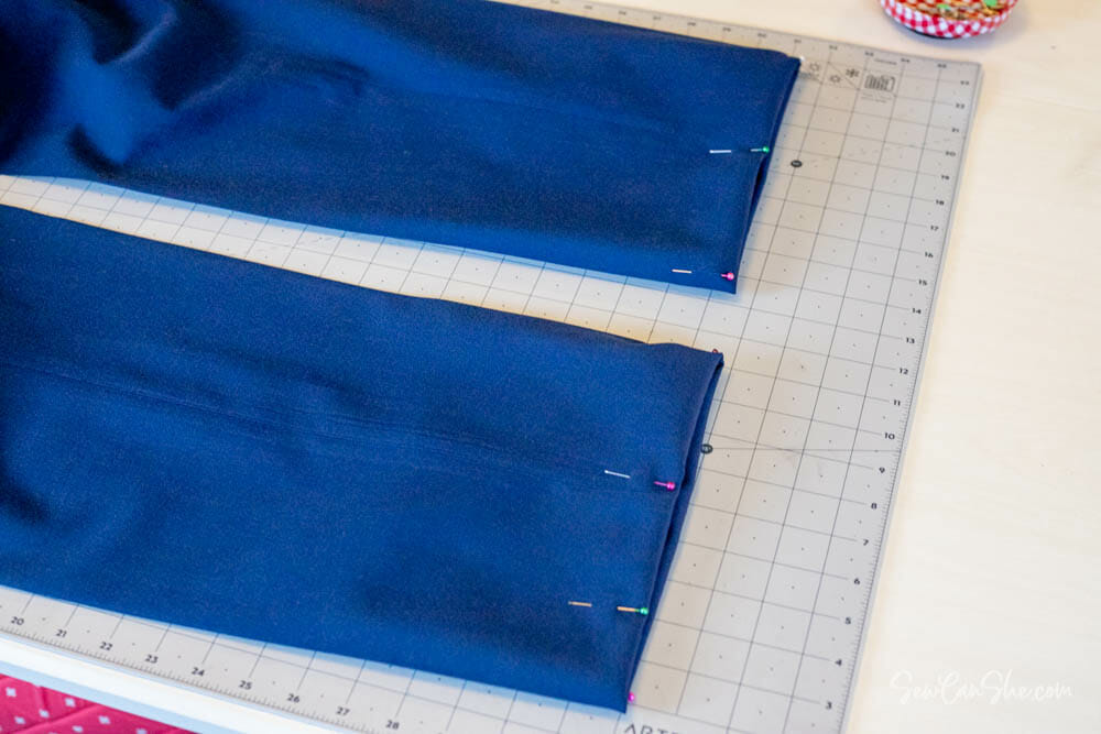 how to pin pants for hemming