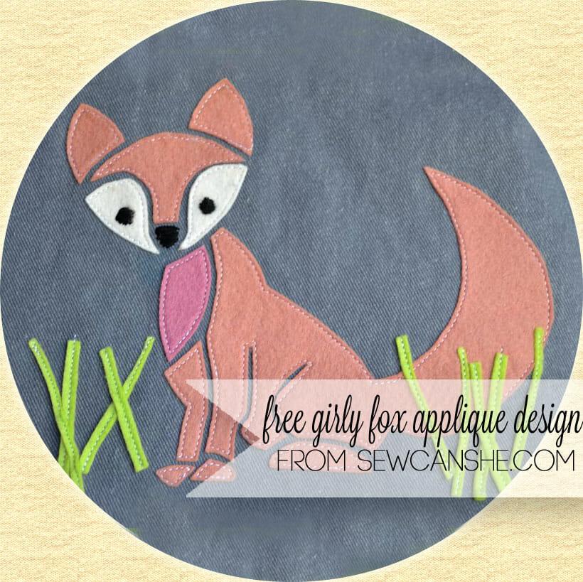 Girly Fox Free Applique Design